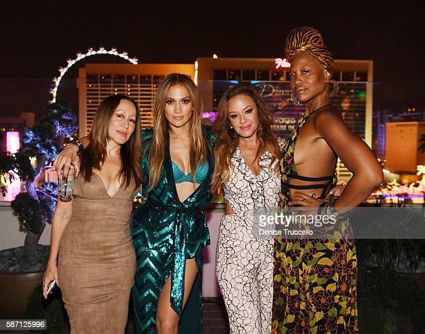 Jennifer Lopez and Leah Remini attend Jennifer Lopez's birthday at Nobu Villa Atop Nobu Hotel at Caesars Palace on July 24 2016 in Las Vegas Nevada