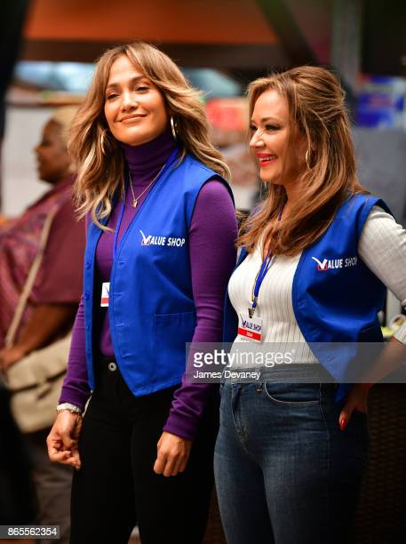 Jennifer Lopez and Leah Remini seen on location for 'Second Act' on October 23 2017 in New York City