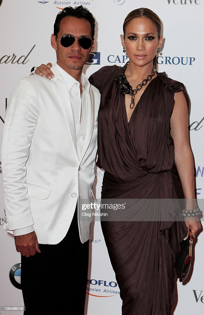 Jennifer Lopez and Marc Anthony arrives at the NEON Charity Gala in aid of the IRIS Foundation at the Capital City on May 24, 2010 in Moscow, Russia.