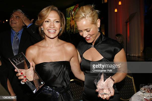 Jennifer Lopez and Maria Bello during 2006 Crystal Lucy Awards Show at The Century Plaza in Century City California United States