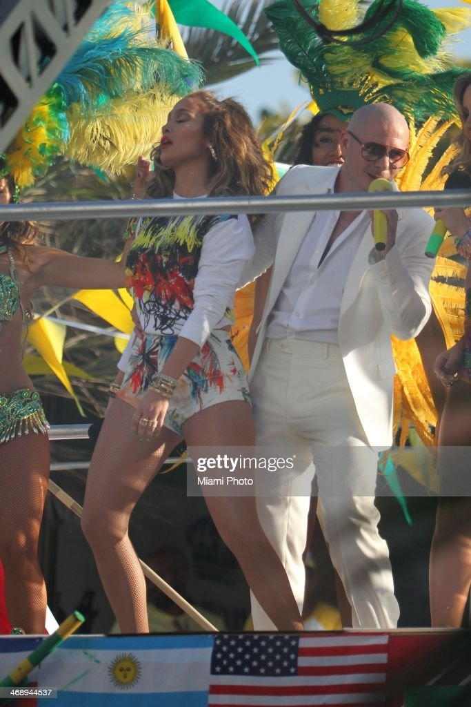 Jennifer Lopez and Pitbull are sighted filming music video on February 11, 2014 in Fort Lauderdale, Florida.