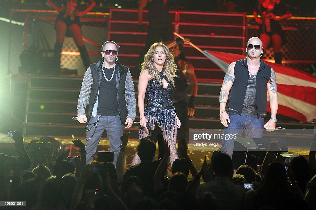 Jennifer Lopez and reggaeton duo Yandel and Wisin of Wisin Yandel perform during the 'Follow The Leader' concert at Coliseo Jose M Agrelot on...