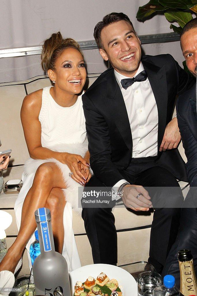 Jennifer Lopez and Ryan Guzman attend The Weinstein Company Netflix's 2015 Golden Globes After Party presented by FIJI Water Lexus Laura Mercier and...