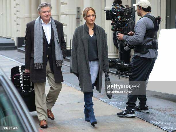 Jennifer Lopez and Treat Williams are seen on the movie set of the 'Second Act' on December 05 2017 in New York City
