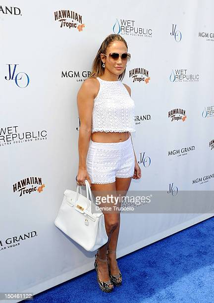 Jennifer Lopez arrives at her world tour concert pre party at WET REPUBLIC at MGM on August 18 2012 in Las Vegas Nevada