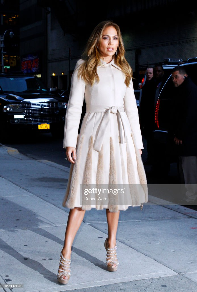 Jennifer Lopez arrives for 'The Late Show with David Letterman' at Ed Sullivan Theater on January 30, 2012 in New York City.