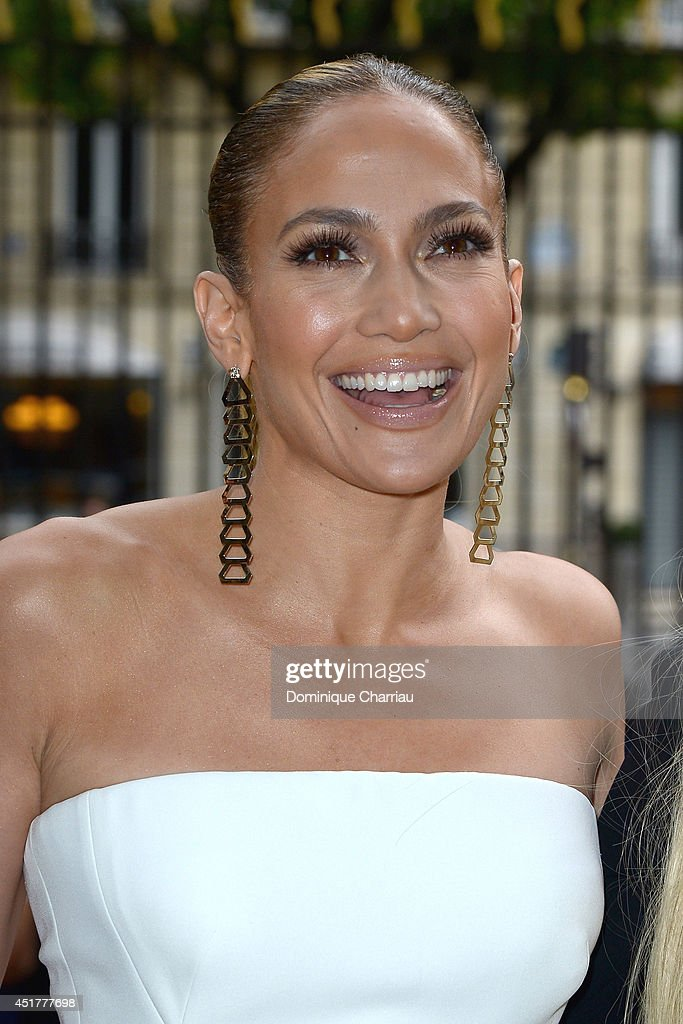 Jennifer Lopez attends at the Versace show as part of Paris Fashion Week Haute Couture Fall/Winter 20142015 at La Cour du Marais on July 6 2014 in...