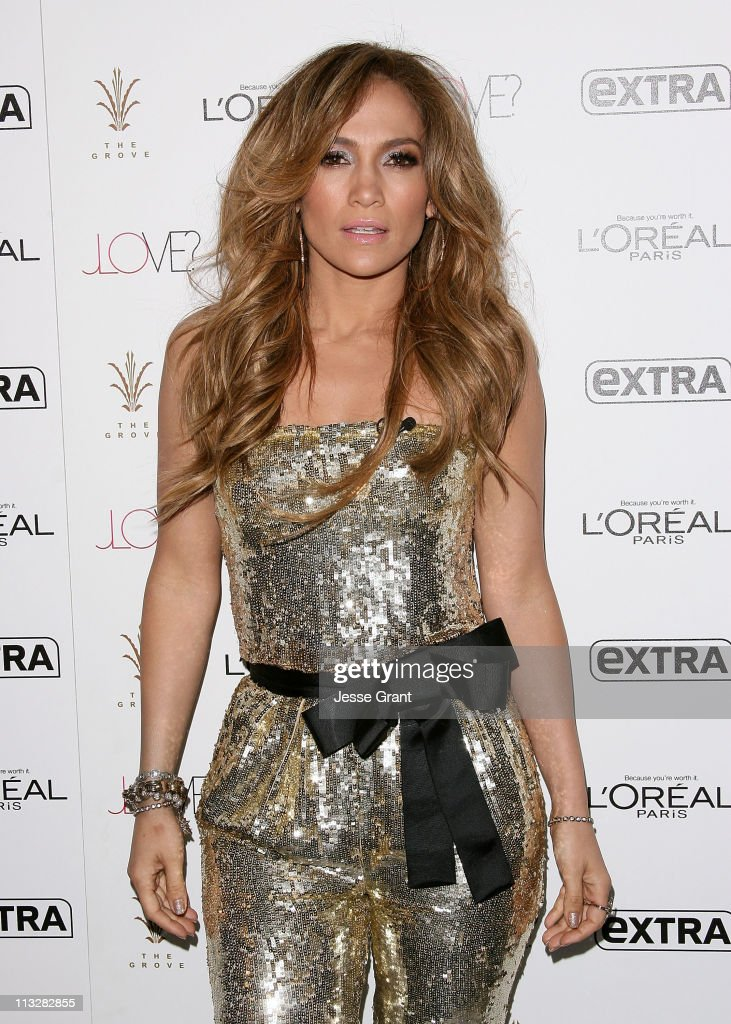 <a gi-track='captionPersonalityLinkClicked' href=/galleries/search?phrase=Jennifer+Lopez&family=editorial&specificpeople=201784 ng-click='$event.stopPropagation()'>Jennifer Lopez</a> attends Extra's special pre-release party for Jennifer lopez's new album 'Love?' held at The Grove on April 29, 2011 in Los Angeles, California.