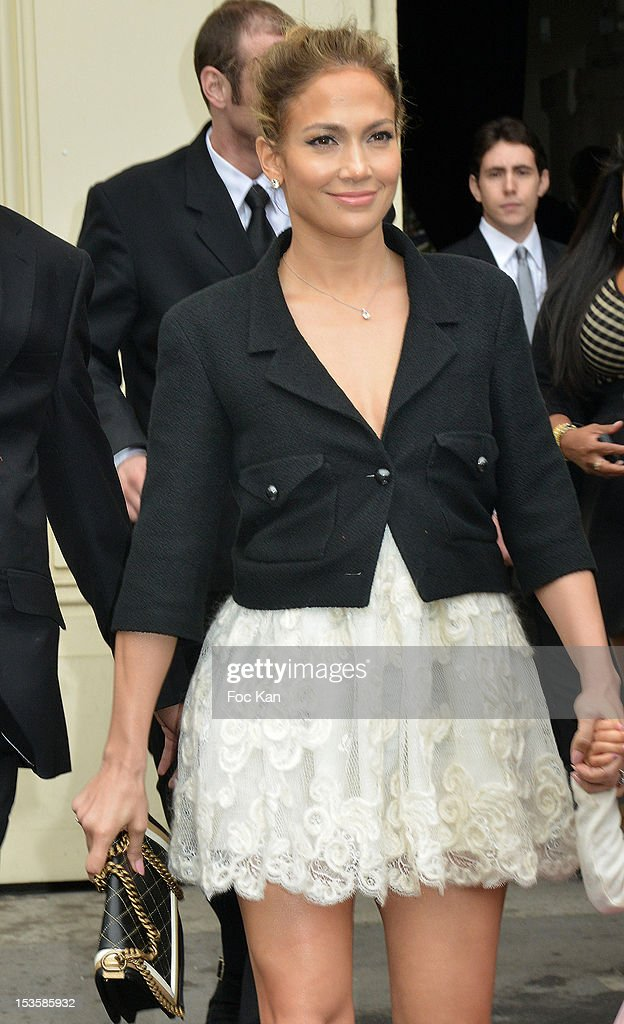 <a gi-track='captionPersonalityLinkClicked' href=/galleries/search?phrase=Jennifer+Lopez&family=editorial&specificpeople=201784 ng-click='$event.stopPropagation()'>Jennifer Lopez</a> attends the Chanel Spring / Summer 2013 show -Arrivals as part of Paris Fashion Week at the Grand Palais on October 2, 2012 in Paris, France.