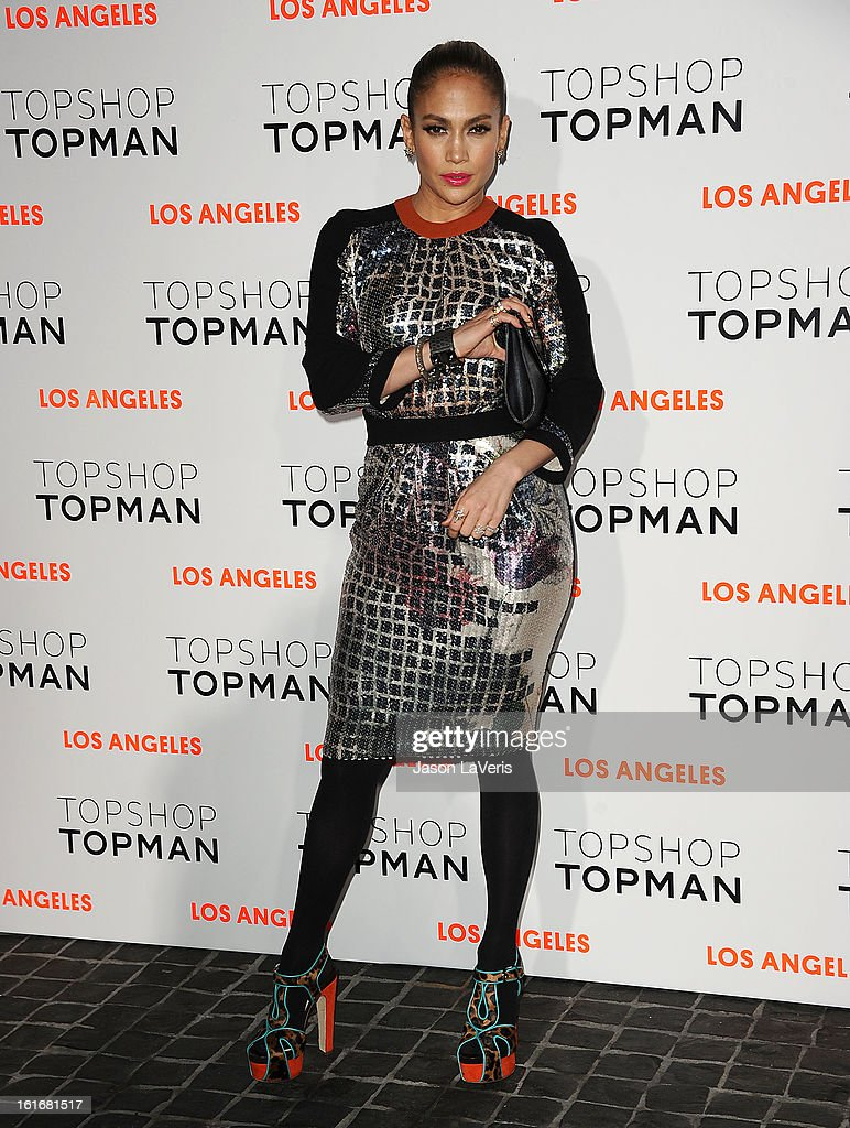 Jennifer Lopez attends the Topshop Topman LA flagship store opening party at Cecconi's Restaurant on February 13, 2013 in Los Angeles, California.