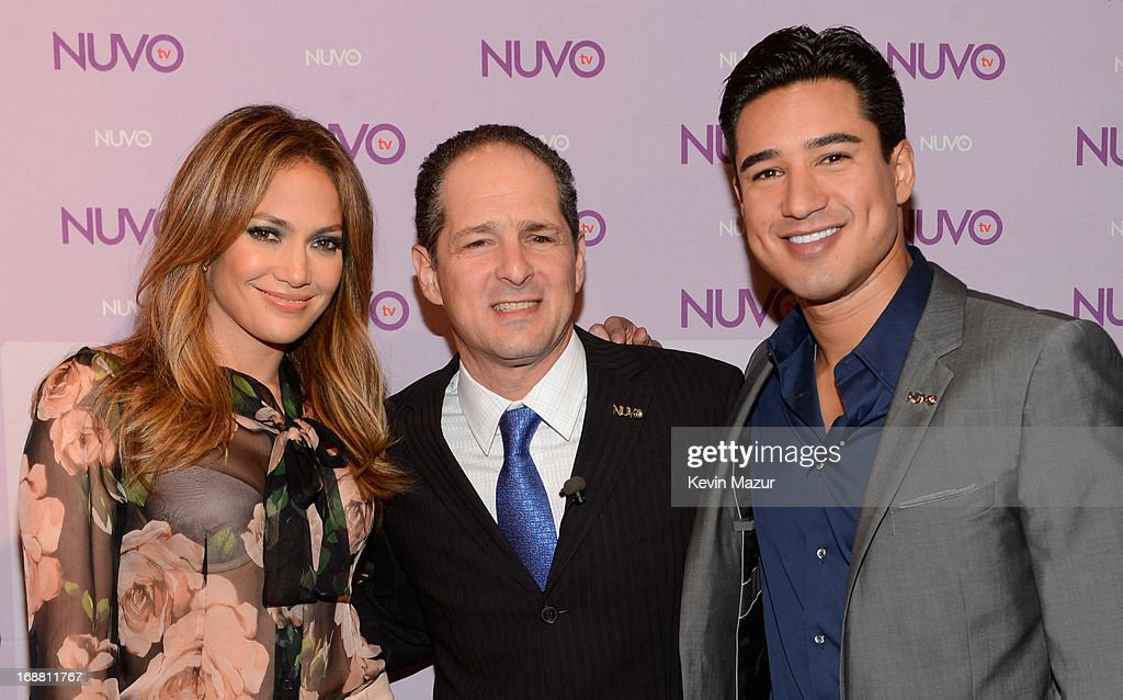 Jennifer Lopez, CEO of NUVOtv Michael Schwimmer and Mario Lopez backstage at the NUTOtv 2013 Upfront Event. NUVOtv and Chief Creative Officer Jennifer Lopez present 2013-2014 Programming Slate at New York CityÊUpfront presentation at The Edison Ballroom on May 15, 2013 in New York City.