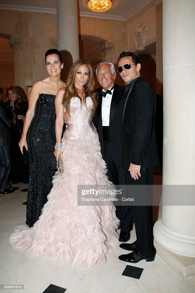 Jennifer Lopez, her husband, Marc Anthony, Giorgio Armani and guest attend the '2010 amfAR's Cinema Against AIDS Gala'