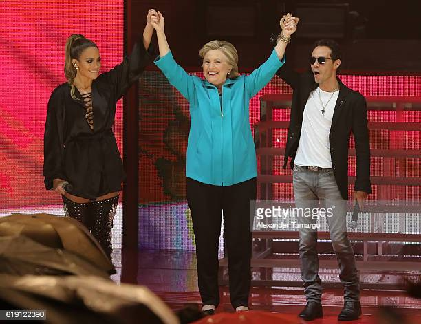 Jennifer Lopez Hillary Clinton and Marc Anthony are seen at the Jennifer Lopez Gets Loud for Hillary Clinton at GOTV Concert in Miami at Bayfront...