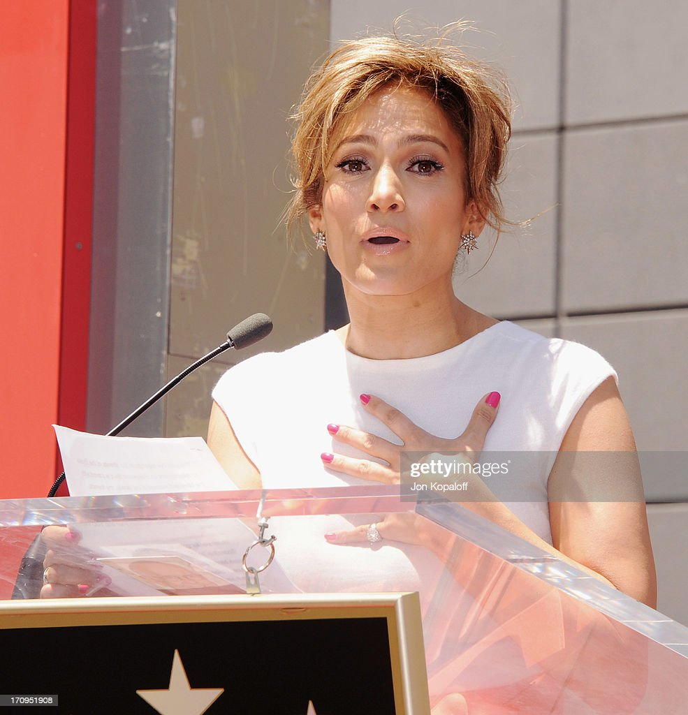 <a gi-track='captionPersonalityLinkClicked' href=/galleries/search?phrase=Jennifer+Lopez&family=editorial&specificpeople=201784 ng-click='$event.stopPropagation()'>Jennifer Lopez</a> Honored With Star On The Hollywood Walk Of Fame on June 20, 2013 in Hollywood, California.