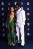 Jennifer Lopez in Versace and Puffy Daddy at the 42nd Grammy Awards held in Los Angeles CA on Febuary 23 2000 Photo by Scott Gries/ImageDirect
