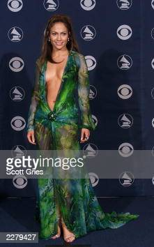 Jennifer Lopez in Versace at the 42nd Grammy Awards held in Los Angeles CA on Febuary 23 2000 Photo by Scott Gries/ImageDirect