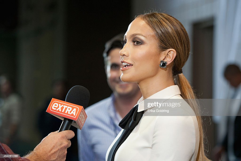 <a gi-track='captionPersonalityLinkClicked' href=/galleries/search?phrase=Jennifer+Lopez&family=editorial&specificpeople=201784 ng-click='$event.stopPropagation()'>Jennifer Lopez</a> is interviewed by press as she arrives at the Ernest N. Morial Convention Center on August 27, 2014 in New Orleans, Louisiana.