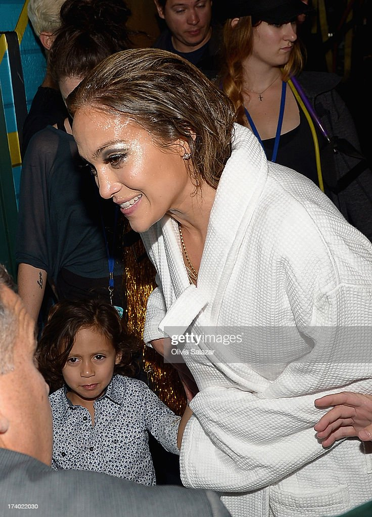 Jennifer Lopez is seen backstage during the at Premios Juventud 2013 at Bank United Center on July 18, 2013 in Miami, Florida.