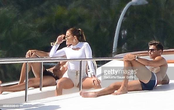 Jennifer Lopez is seen filming a music video on board a luxury boat on February 12 2014 in Miami Florida