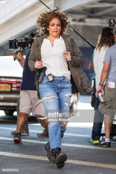 Jennifer Lopez is seen filming 'Shades of Blue' on August 1 2017 in New York City