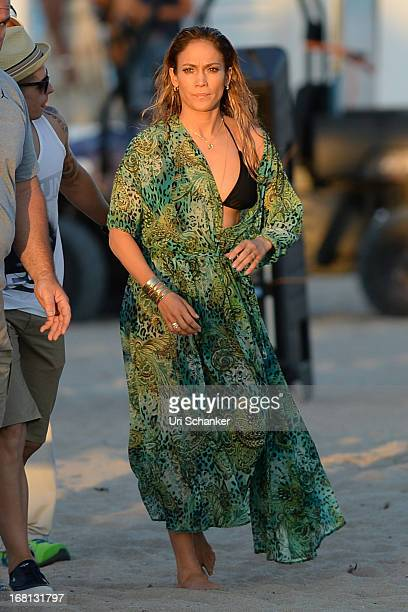 Jennifer Lopez is sighted after gun shots are fired near her location as they film a commercial on the beach on May 5 2013 in Fort Lauderdale Florida