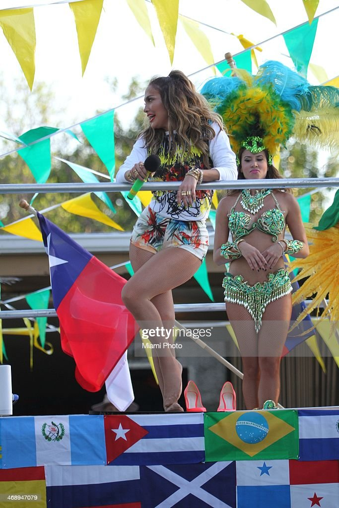 Jennifer Lopez is sighted filming music video on February 11, 2014 in Fort Lauderdale, Florida.