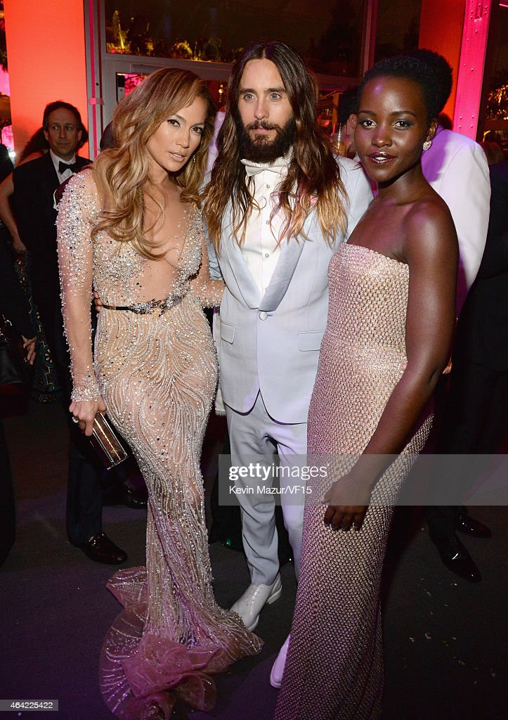 Jennifer Lopez Jared Leto and Lupita Nyong'o attend the 2015 Vanity Fair Oscar Party hosted by Graydon Carter at the Wallis Annenberg Center for the...
