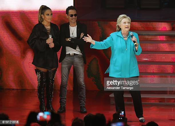 Jennifer Lopez Marc Anthony and Hillary Clinton are seen at the Jennifer Lopez Gets Loud for Hillary Clinton at GOTV Concert in Miami at Bayfront...