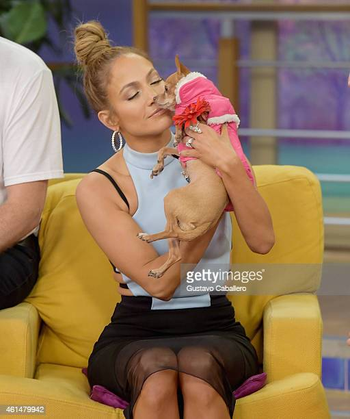 Jennifer Lopez on the set of Despierta America to promote film 'The Boy Next Door'at Univision Headquarters on January 13 2015 in Miami Florida