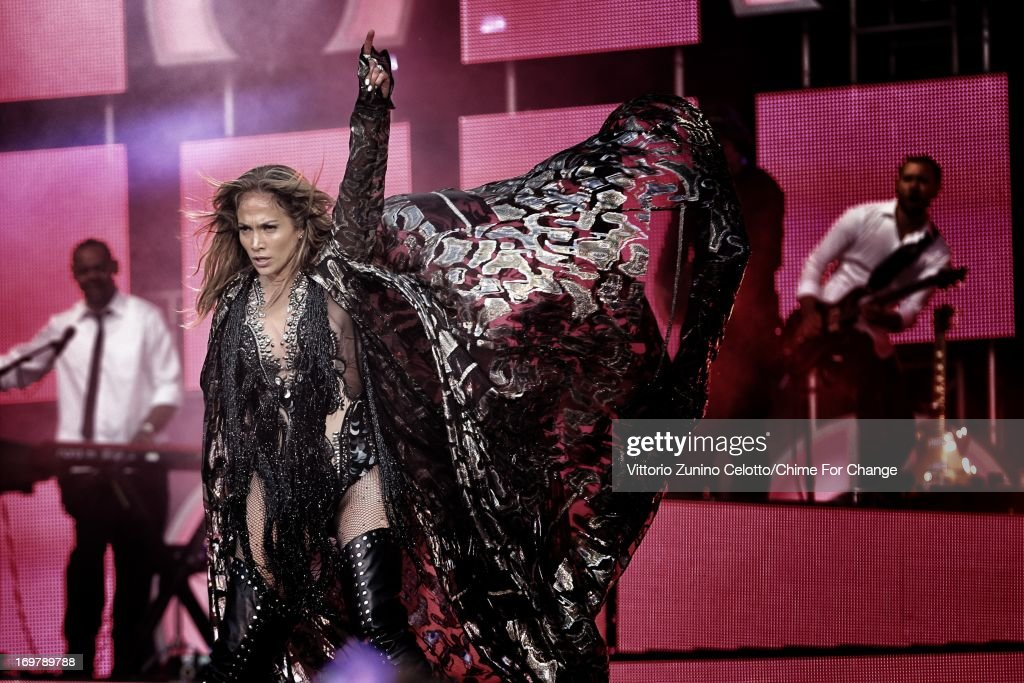<a gi-track='captionPersonalityLinkClicked' href=/galleries/search?phrase=Jennifer+Lopez&family=editorial&specificpeople=201784 ng-click='$event.stopPropagation()'>Jennifer Lopez</a> performs at the 'Chime For Change: The Sound Of Change Live' Concert at Twickenham Stadium on June 1, 2013 in London, England. Chime For Change is a global campaign for girls' and women's empowerment founded by Gucci with a founding committee comprised of Gucci Creative Director Frida Giannini, Salma Hayek Pinault and Beyonce Knowles-Carter.