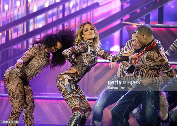 Jennifer Lopez performs attends the 2015 American Music Awards at Microsoft Theater on November 22 2015 in Los Angeles California