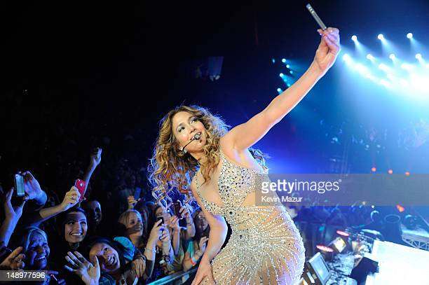 Jennifer Lopez performs during her coheadlining tour with Enrique Iglesias at Prudential Center on July 20 2012 in Newark United States