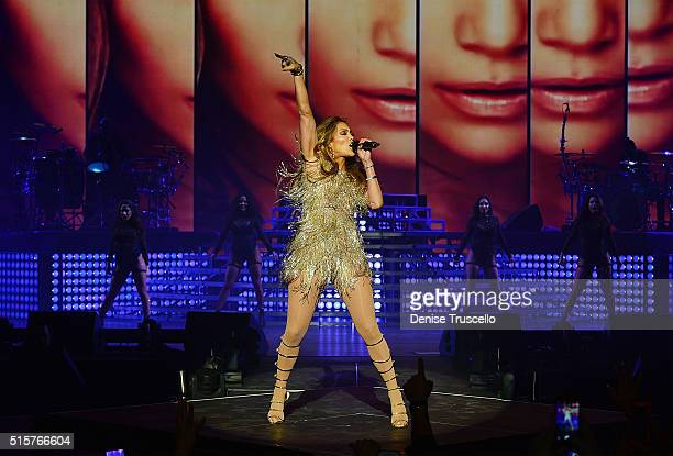 Jennifer Lopez performs during 'Pitbull Time of Our Lives Las Vegas' opening at the AXIS at Planet Hollywood Resort Casino in Las Vegas on March 15...