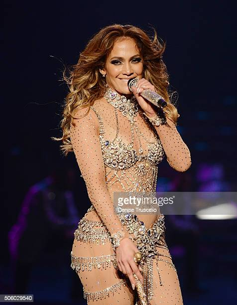 Jennifer Lopez performs during the debut of her residency show JENNIFER LOPEZ ALL I HAVE at Planet Hollywood Resort Casino on January 20 2016 in Las...