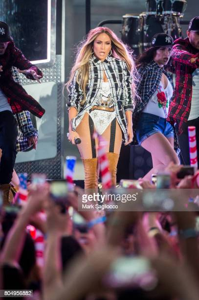 Jennifer Lopez performs during the pre tape for the 41st annual Macy's 4th of July Fireworks over the East River in New York City on June 30 2017 in...