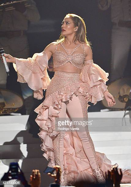 Jennifer Lopez performs musical tribute to Selena performs onstage at the 2015 Billboard Latin Music Awards presented bu State Farm on Telemundo at...