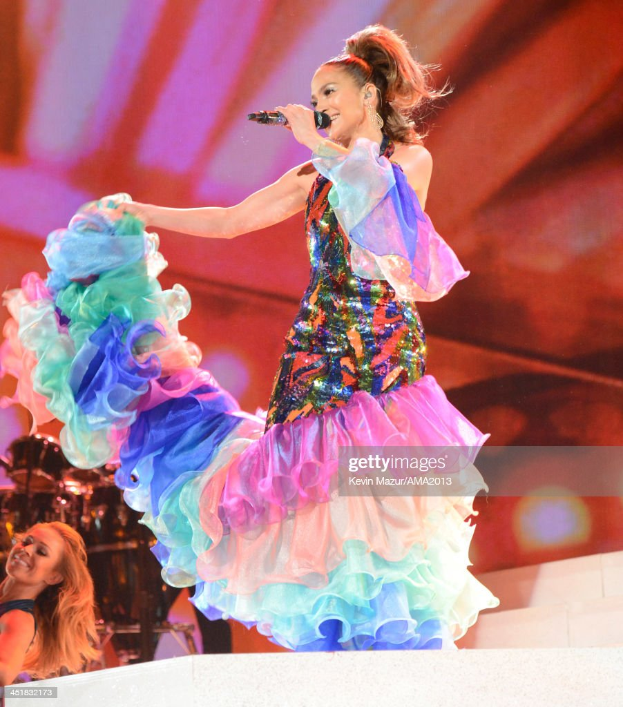 <a gi-track='captionPersonalityLinkClicked' href=/galleries/search?phrase=Jennifer+Lopez&family=editorial&specificpeople=201784 ng-click='$event.stopPropagation()'>Jennifer Lopez</a> performs onstage during the 2013 American Music Awards at Nokia Theatre L.A. Live on November 24, 2013 in Los Angeles, California.