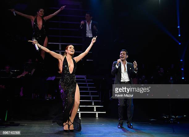Jennifer Lopez performs onstage with Marc Anthony at Radio City Music Hall on August 27 2016 in New York City