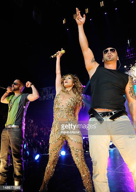 Jennifer Lopez performs with Wisin Y Yendal during her coheadlining tour with Enrique Iglesias at Prudential Center on July 20 2012 in Newark United...