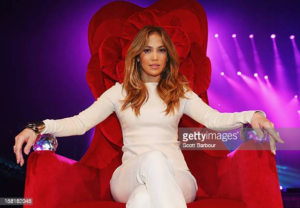 Jennifer Lopez poses at a press call at Rod Laver Arena on December 11 2012 in Melbourne Australia