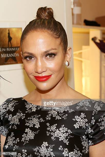 Jennifer Lopez poses backstage at the hit new musical 'Hamilton' on Broadway at The Richard Rogers Theater on August 1 2015 in New York City