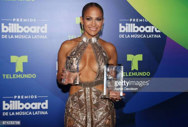 Jennifer Lopez poses backstage during the Billboard Latin Music Awards at Watsco Center on April 27 2017 in Coral Gables Florida