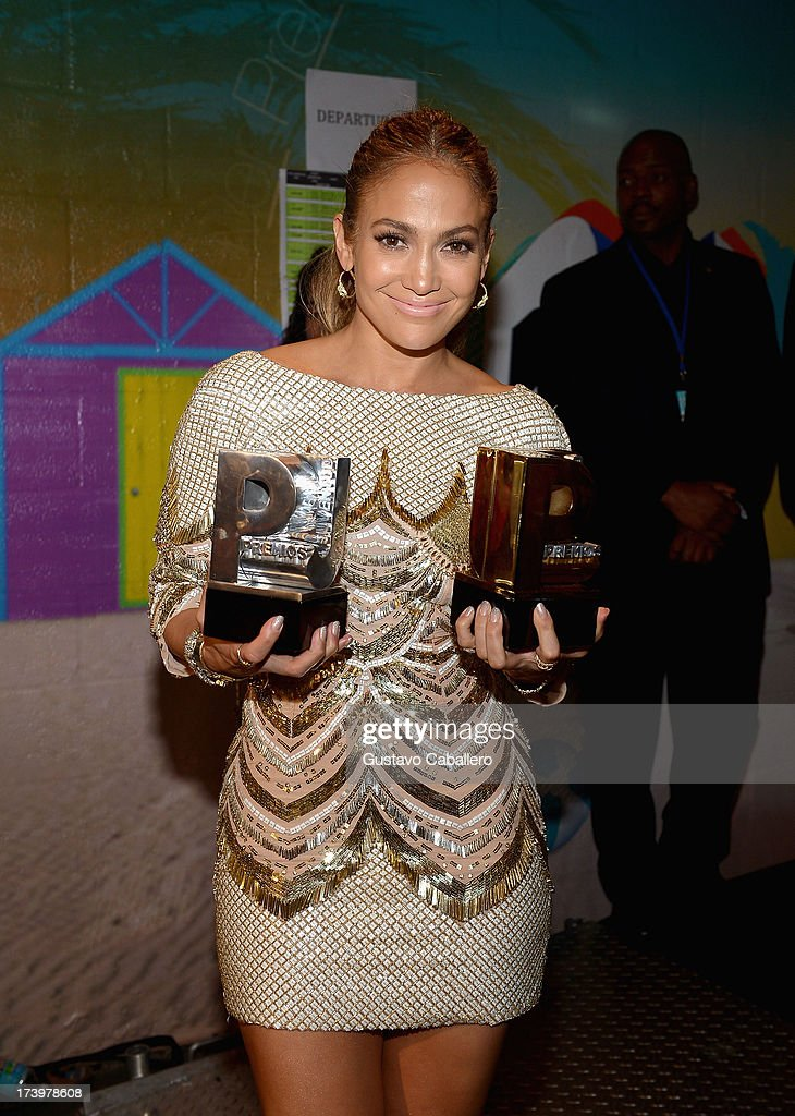 <a gi-track='captionPersonalityLinkClicked' href=/galleries/search?phrase=Jennifer+Lopez&family=editorial&specificpeople=201784 ng-click='$event.stopPropagation()'>Jennifer Lopez</a> poses backstage during the Premios Juventud 2013 at Bank United Center on July 18, 2013 in Miami, Florida.