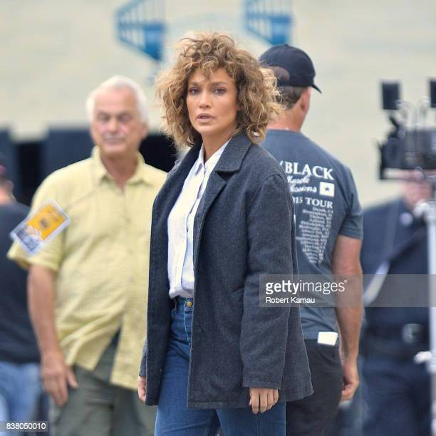 Jennifer Lopez seen at a 'Shades of Blue' film set in Queens on August 23 2017 in New York City