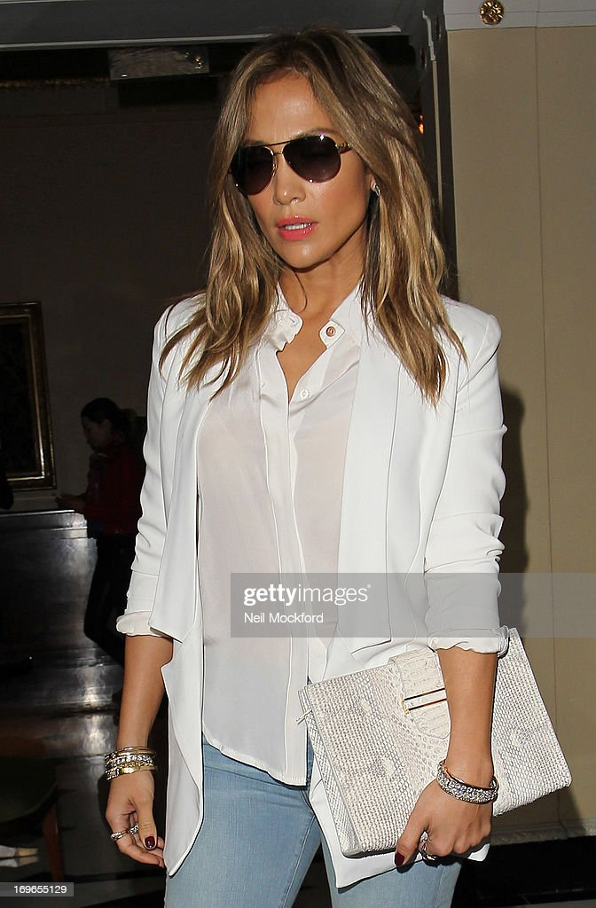 <a gi-track='captionPersonalityLinkClicked' href=/galleries/search?phrase=Jennifer+Lopez&family=editorial&specificpeople=201784 ng-click='$event.stopPropagation()'>Jennifer Lopez</a> seen leaving The Dorchester Htoel on May 30, 2013 in London, England.