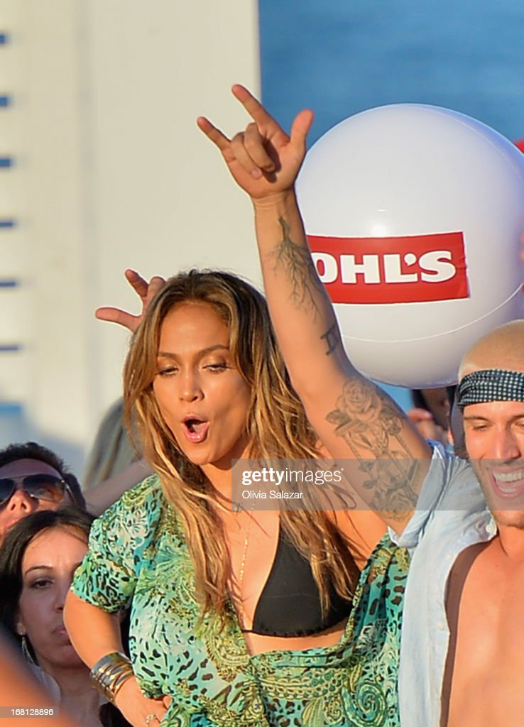 Jennifer Lopez shoots a video on May 5, 2013 in Fort Lauderdale, Florida.