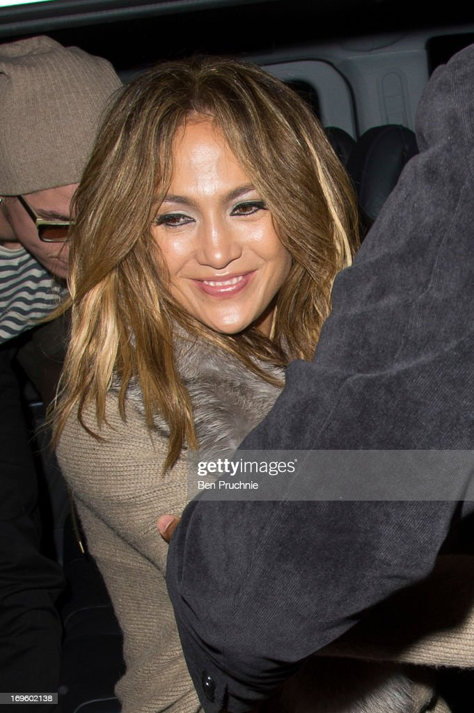 <a gi-track='captionPersonalityLinkClicked' href=/galleries/search?phrase=Jennifer+Lopez&family=editorial&specificpeople=201784 ng-click='$event.stopPropagation()'>Jennifer Lopez</a> sighted arriving at The Dorchester Hotel on May 28, 2013 in London, England.