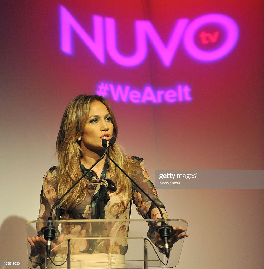 Jennifer Lopez speaks on stage while NUVOtv and Chief Creative Officer Jennifer Lopez present 2013-2014 Programming Slate at New York City's Upfront presentation at The Edison Ballroom on May 15, 2013 in New York City.