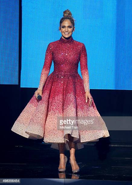 Jennifer Lopez speaks onstage at the 2015 American Music Awards at Microsoft Theater on November 22 2015 in Los Angeles California