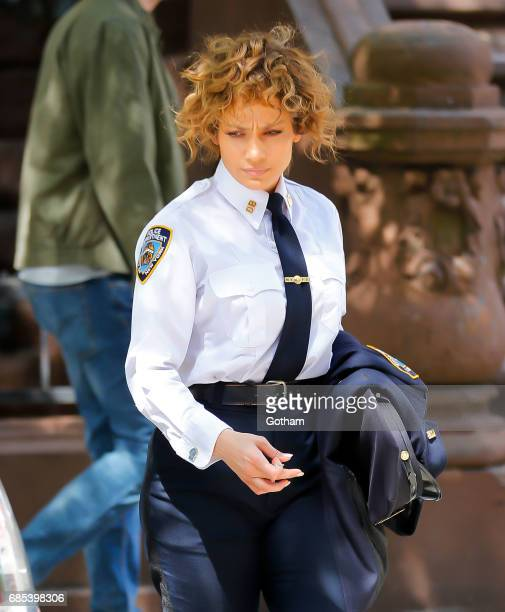 Jennifer Lopez wears an officer's uniform on location for 'Shades of Blue' on May 19 2017 in New York City
